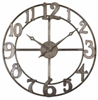 Delevan Rustic Metal Wall Clock, 32x32