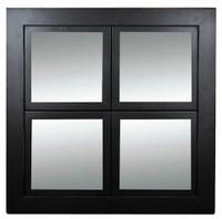 Windowpane Mirror, Black with Lightly Distressed Edges, Poplar Wood - 8x8 Panes