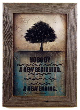 Rustic Wall Decor Make A New Ending Framed Quote
