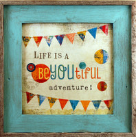 BeYOUtiful Adventure Framed Art - Square Sky Blue Reclaimed Wood Frame, 17x17
