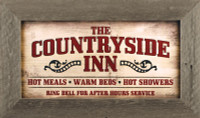 Countryside Inn Primitive Rustic Wall Decor Sign in Reclaimed Wood