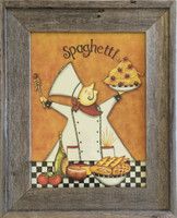 Chef Spaghetti kitchen decor print in reclaimed wood
