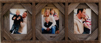 Collage Frame with Three 4x6 openings, Barnwood with Cornerblocks