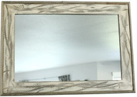 Rustic Mirror - Denali Antique White Heavily Distressed Wood Mirror