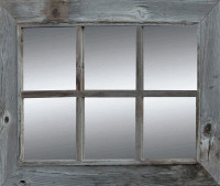 Rustic Mirror  - Window Pane Barnwood Mirror - 6 Panes