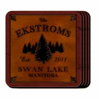 Personalized Spruce Coaster Set