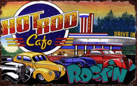 Vintage Hot Rod Café Sign