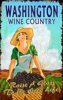 Vintage Grape Harvest Wine Country Sign