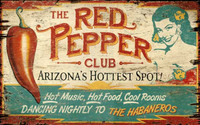 Vintage Red Peppers Sign