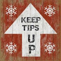Vintage Ski Tips Up #4 Sign