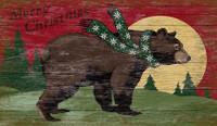 Vintage Moon Christmas Bear Sign