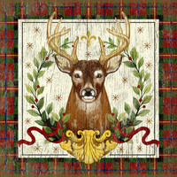 Vintage Woodland Christmas Stag Sign