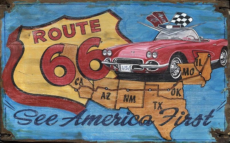 Vintage Route 66 Vette Sign