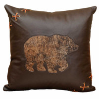 Mesa Espresso Bear Leather Pillow
