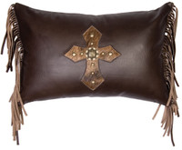 Mesa Espresso Leather Pillow with fringe