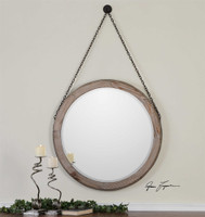 Uttermost Loughlin Round Wood Mirror