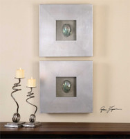 Uttermost Abalone Shells Silver Wall Art, S/2