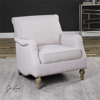 Uttermost Armstead Antique White Armchair