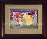 Game Plan Western Art Framed Print by June Dudley. Print features father and daughter in yellow raincoats making a game plan for what they will do together on the ranch that day. A herd of cattle looks on in the background.