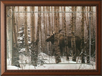 A lone moose walking through a snowy forest landscape