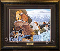 Lone cougar facing five hounds in a snowy mountain landscape - Tom Mansanarez Print