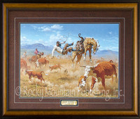 A cowboy getting thrown from his horse during a round-up in a dusty western landscape - Clark Kelley Price Print