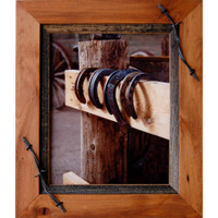 18x24 Wood Frame with Barbed Wire