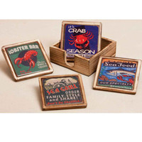 Seafood Coaster Set in Wood Case
