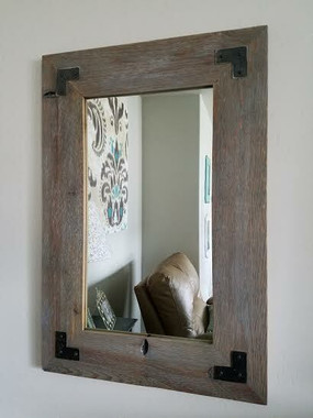 Distressed Wood Mirror with Metal Brackets