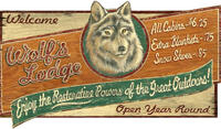 Vintage Wolf Lodge Sign