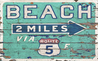 Vintage Beach Direction Sign
