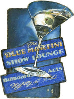 Vintage Blue Martini Sign