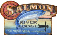 Vintage Salmon River Lodge Sign