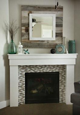 Barnwood Slat Mirror with white Overlay