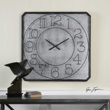 Uttermost Dominic Galvanized Metal Wall Clock