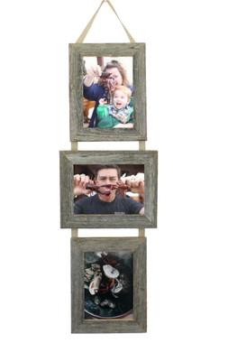 Rustic Barnwood 3 opening Collage Frame Set- 5X7 Three Barnwood Frames on Ribbon - 2 Portrait and 1 Landscape