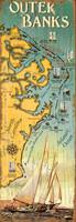 Vintage Outer Banks (OBX) Map Sign