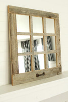 9 Window Pane Mirror -Barnwood