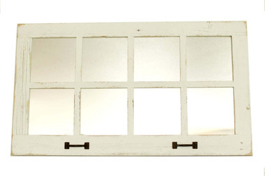 8 Window Pane Mirror - White