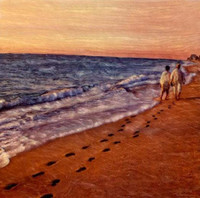 Vintage Couple Walking on Beach Art