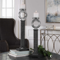 Uttermost Docia Charcoal Candleholders S/2