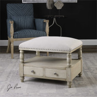Uttermost Bailor White Canvas Bench