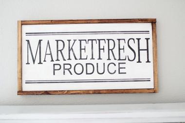 Wooden Marketfresh Produce Sign