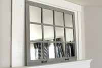 FARMHOUSE MIRROR- 12 WINDOW PANE MIRROR- GRAY