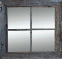 Rustic Mirror  - Window Pane Barnwood Mirror - 4 Panes