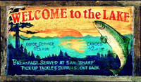 Vintage Fishing Sign - Welcome to the Lake