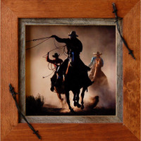 Western Frames-8x8 Wood Frame with Barbed Wire - Sagebrush Series