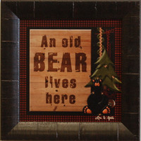 An Old Bear Lives Here Framed Cabin Wall Decor Print