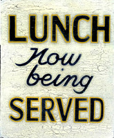 Retro Vintage Sign - Lunch Now Being Served - Distressed Wood Signs