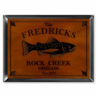 Personalized Wood Cabin Signs -Trout Fishing Sign